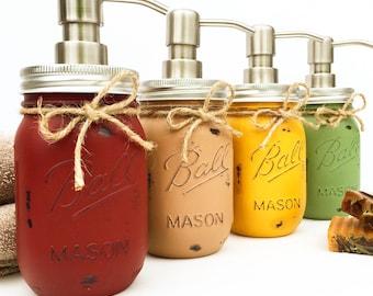 Single Handpainted, Mason Jar Soap Dispenser, Mason Jars, Hostess Gift, Bridal Shower Gift, Farmhouse, Country, Kitchen, Bathroom, Soap