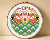 20% OFF SUMMER SALES Modern Cross Stitch Patterns - Housewarming - Red Foxes Home - Cross Stitch Quote Series - Home Sweet Home  - Pdf - Diy