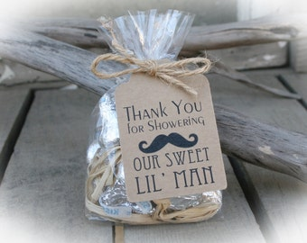 Little Man Baby Shower-25 DIY Bags/Favor Tags w/Ribbon -Sweet Favors just add your own filling- Baby Shower DIY Kits- Mustache Baby Shower