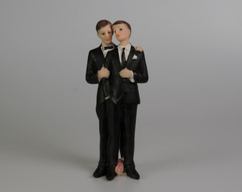 "6545 - 7"" Gay Male Couple Wedding Cake Topper"