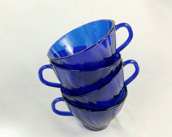 Vintage Vereco France Cobalt Tea Cups/Blue Teacups/Vintage Swirl Coffee Cups/Blue Twist Punch Cups (Lot of 4)