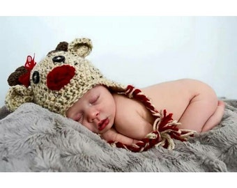 Crochet Reindeer Earflap Hat for boy or girl