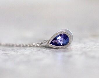 Tanzanite necklace in 14k white gold, blue gemstone necklace, December birthstone jewelry, bezel set necklace, 14k gold gift