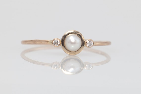 Pearl Diamond Ring Pearl Engagement Ring White Pearl By ARPELC