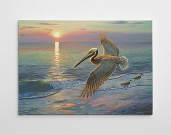 "Pelican Wall Decor, Beach Canvas Art, Large Pelican Painting, Ocean Canvas Wall Art, Beach Painting ""Evening Traffic"" by Randy McGovern"