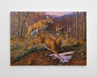 "Deer Wall Decor, Deer Hunting Canvas Art, Large Deer Painting, Deer Hunting Canvas Wall Art, Deer Painting ""Speed Bump"" by Randy McGovern"