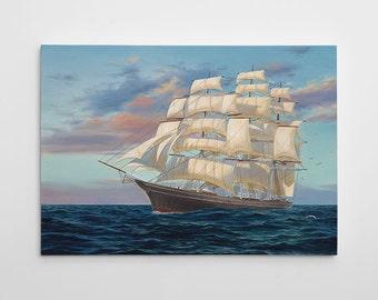 "Sailboat Wall Decor, Ship Canvas Art, Large Sailboat Painting, Nautical Canvas Wall Art, Sailor Painting ""Cutty Sark"" by Randy McGovern"