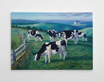 """Cows Wall Decor, Dairy Cow Canvas Art, Large Cows Painting, Country Canvas Wall Art, Farm Painting """"Amazing Grazing"""" by Randy McGovern"""