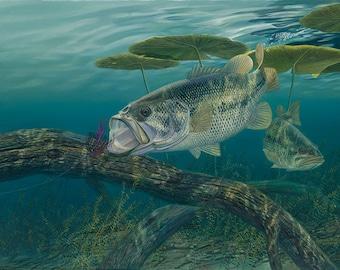 Bass Fishing Wall Decor, Large Wall Art Print, Large Bass Painting, Bass Wall Art, Bass Poster, Bass Print, Bass Art, Wildlife Art-5209