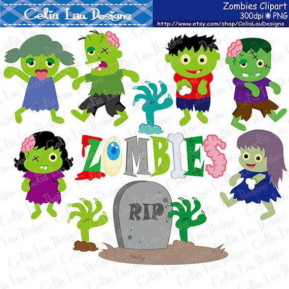 Zombie clipart Zombie Party clipart Zombie Party clip art