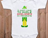 Funny baby clothes Buddy the Elf bodysuit I just like to smile smiling is my favorite one piece romper TM-100