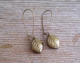 Brass Leaf Earrings, Antiqued Brass Wide Leaf Earrings, Fall Jewelry, Leaf Jewelry, Pierced Dangle Earrings, Fall Leaf Earrings