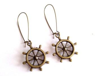 Nautical Earrings, Antiqued Brass Ship Wheel Earrings, Beach Jewelry, Sailor Earrings, Nautical Jewelry, Pierced Dangle Earrings