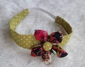 Flower Headband -Green Polka & Pink Floral hair accessory -Hot Pink floral -Matching headband -photo prop -dress up - Elastic Hair accessory