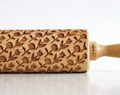 Rolling Pin engraved ROSES & TULIPS  Embossing rolling pin, laser engraved rolling pin Wedding gift flower motive * Easter *