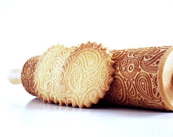 Rolling pins engraved PAISLEY - embossing rolling pin, laser engraved rolling pin. Indian paisley pattern.