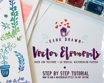 Huge Vector Bundle - 100 Hand Drawn Decorative Clip art Elements