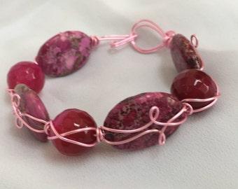 Cuff Bracelet - Pink Quartz and Jasper