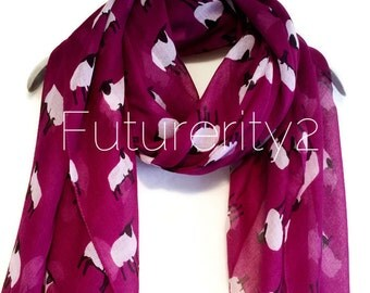 Sheep Purple Spring Summer Scarf / Autumn Scarf / Gift For Her / Womens Scarves / Fashion Accessories