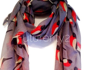 Red Robin Birds Grey Scarf / Spring Scarf / Summer Scarf / Women Scarves / Gifts For Her / Accessories