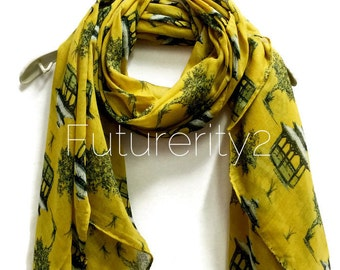 Toile Prints Mustard Yellow Scarf / Spring Summer Scarves / Women Scarves / Gifts For Her / Accessories / Handmade