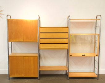 Mid Century Modern Modular Wall Unit Shelving System Herman Miller George Nelson Style