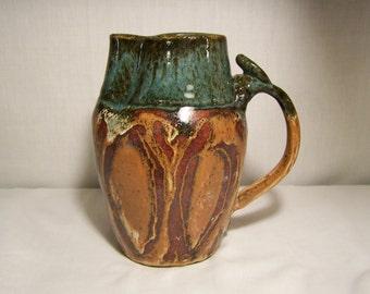 Pottery Pitcher Brown Blue Drip Glaze 1977