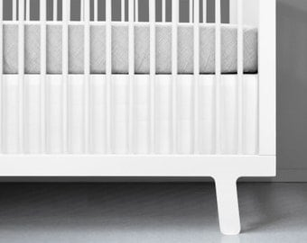 Modern White Crib Skirt - White Crib Bedding | Modern nursery bedding | Modern baby bedding | Solid White Crib Skirt | Modern baby nursery