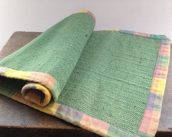 Vintage Table Runner Green Table Runner With Checked Cotton Edged Table  Placemat
