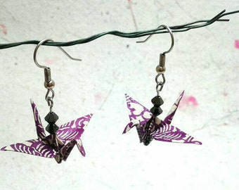 Paper Origami Crane Earrings: Purple Earrings, Asian earrings, Purple jewelry, Swarovski Jewelry, Kawaii jewelry, origami art, for her