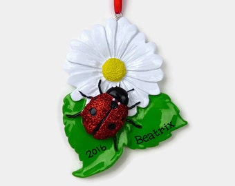 SHIPS FREE - Ladybug Personalized Ornament - Hand Personalized Christmas Ornament