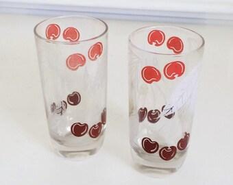 Set of 2 Vintage Cherry Fruit Glasses