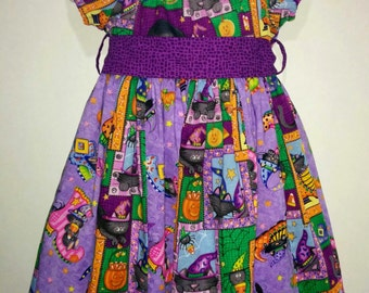 Baby Infant Toddler Girls Halloween Boo Kitty Cat Black and Purple Boutique Peasant Dress Outfit! Bow available! Daisy Kingdom!