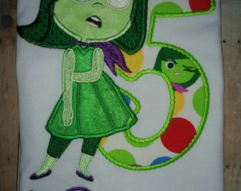 Inside Out Emotions Disgust Disgusted Green Boutique Number and Name Birthday Party Shirt Girl T-Shirt Embroidered Embroidery!