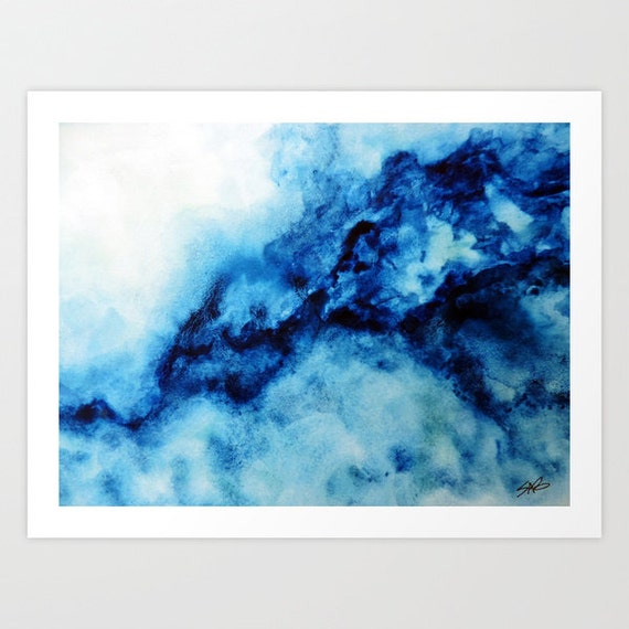Blue Print Wall Decor : Blue watercolor print wall art canvas by