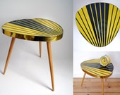 Vintage Mid Century Plant Stand kidney Flower table coffee table 60s nightstand German GDR Rockabilly space atomic age Stripes Black Yellow