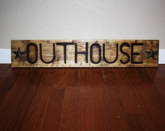 outhouse sign ~ rustic outhouse ~ branding iron board ~ outhouse ~ rustic bathroom sign ~ cattle sign