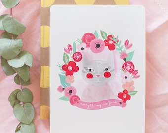 "Card ""Cats and flowers"""