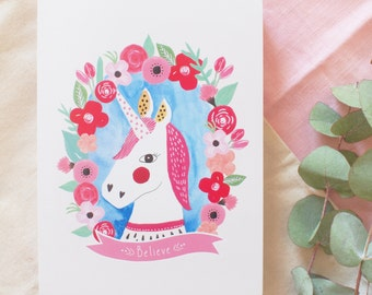 "Card ""Unicorns and flowers"""