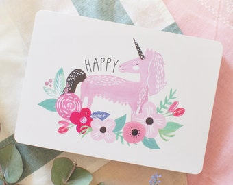 "Card ""Happy unicorn"""
