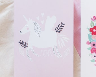"Card ""Love and unicorn"""