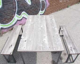 Unfinished Barnwood and Metal Dinig Room Table and Stools
