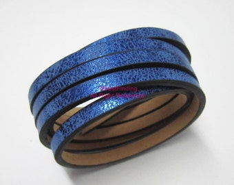 1meter 5x2mm Metallic blue leather cord 5mm Flat leather cord