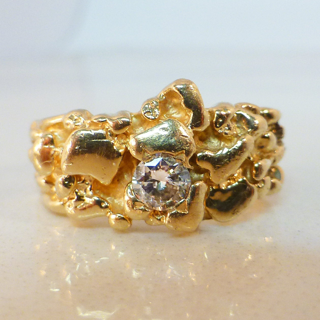 unisex nugget ring 14k gold nugget ring 6264 1