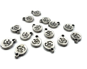 20 Pieces Mini OM Charms ॐ Matte Silver Plated - CCS003