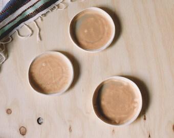 set of 3 small desert ceramic dishes