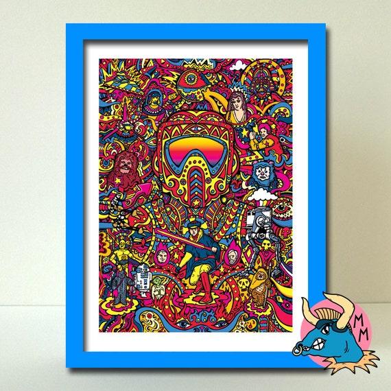 Star Wars Art Print, Star Wars Art, Biker Scout Art Print, A3 Art Print, Star Wars Wall Art, Wall Art Print, Art Deco, Art, Boyfriend Gift