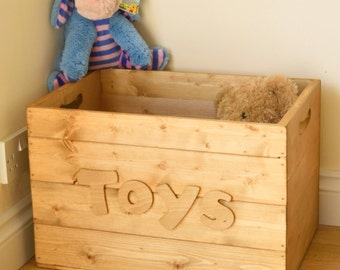 Personalised Large Rustic Wooden Crate Toy/Storage Box Handmade Vintage Style