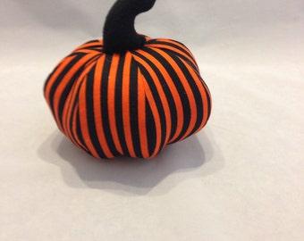 Black and orange striped halloween stuffed pumpkin/home decor