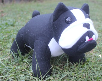 Black and white stuffed French bulldog/plushie